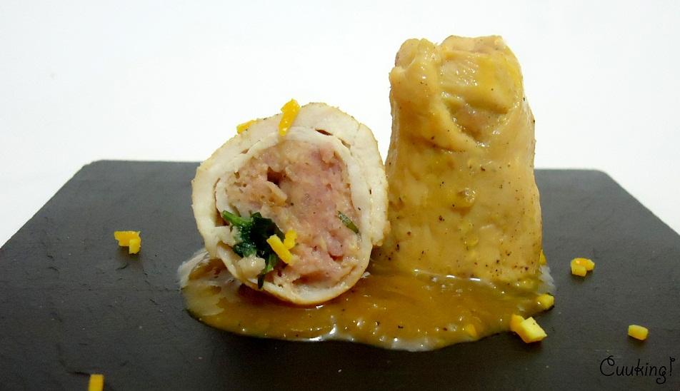 Rollitos de pollo rellenos a la salsa de naranja