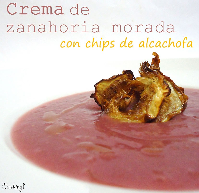 Crema de zanahoria morada con chips de alcachofa