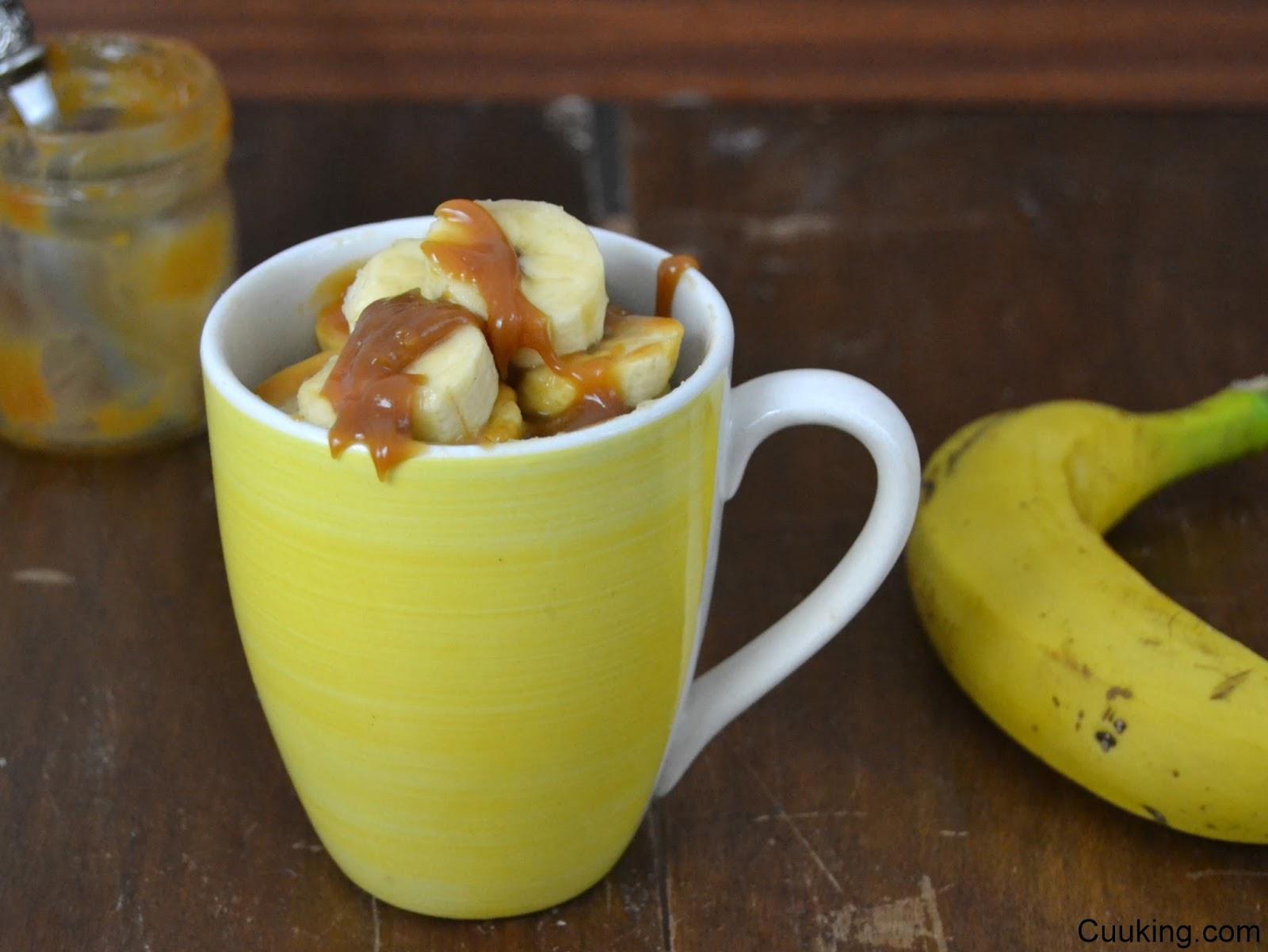 Mug cake de plátano y toffee