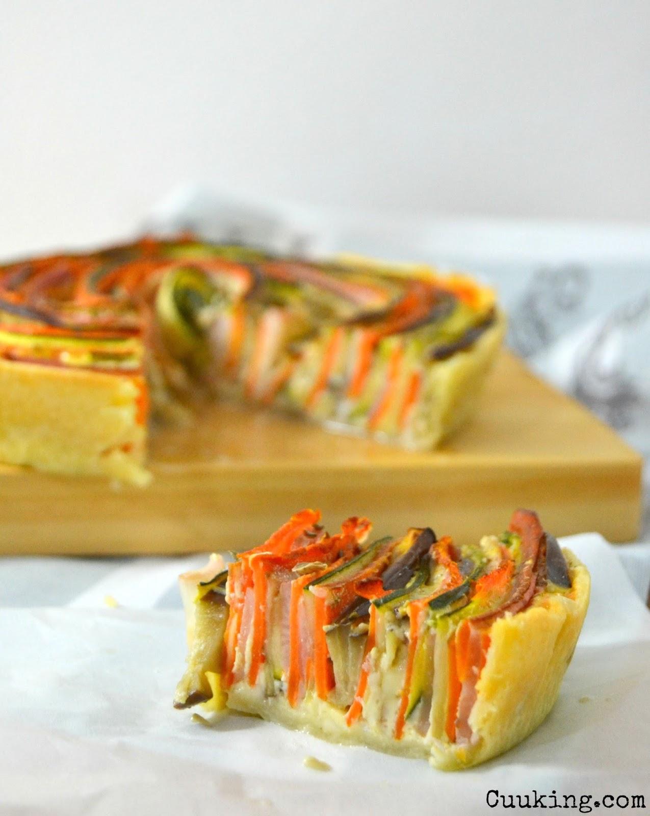 Quiche de verduras en espiral.