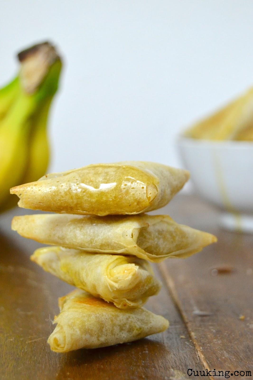 Samosas de plátano, jengibre y miel receta