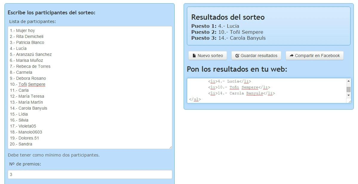 Sorteo realizado a través de la web Sortea2.com