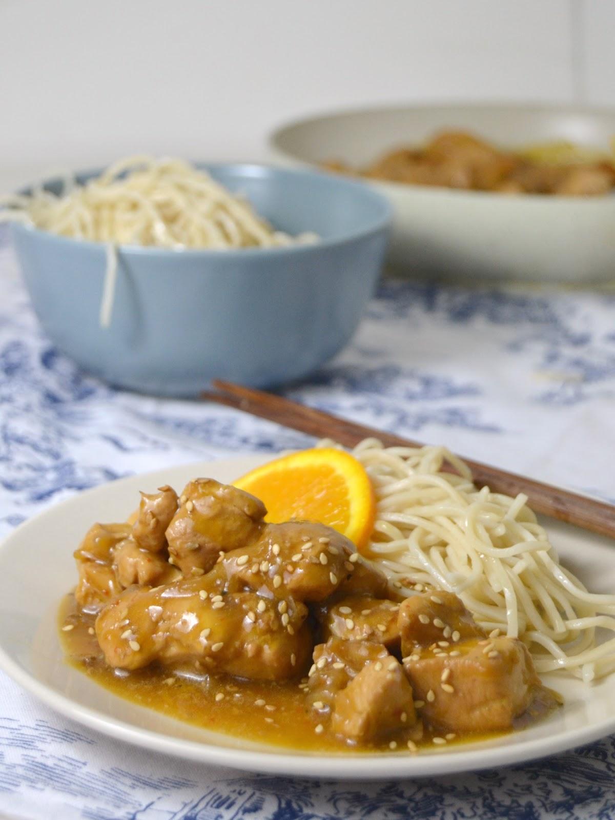 Pollo a la naranja estilo asiático