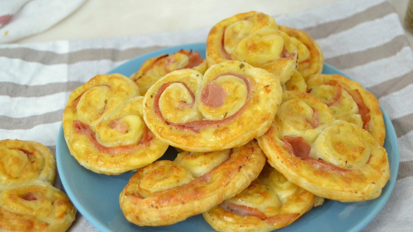 Palmeritas de jamón y queso