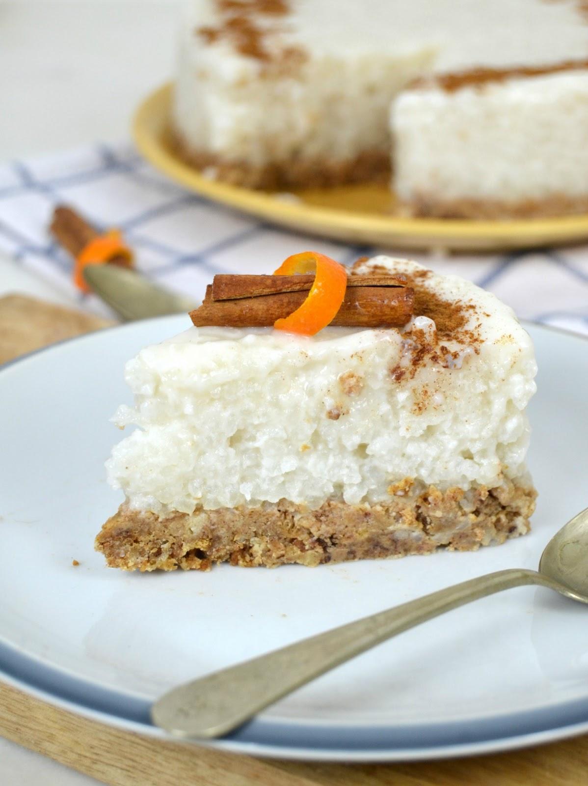 Tarta de arroz con leche sin horno