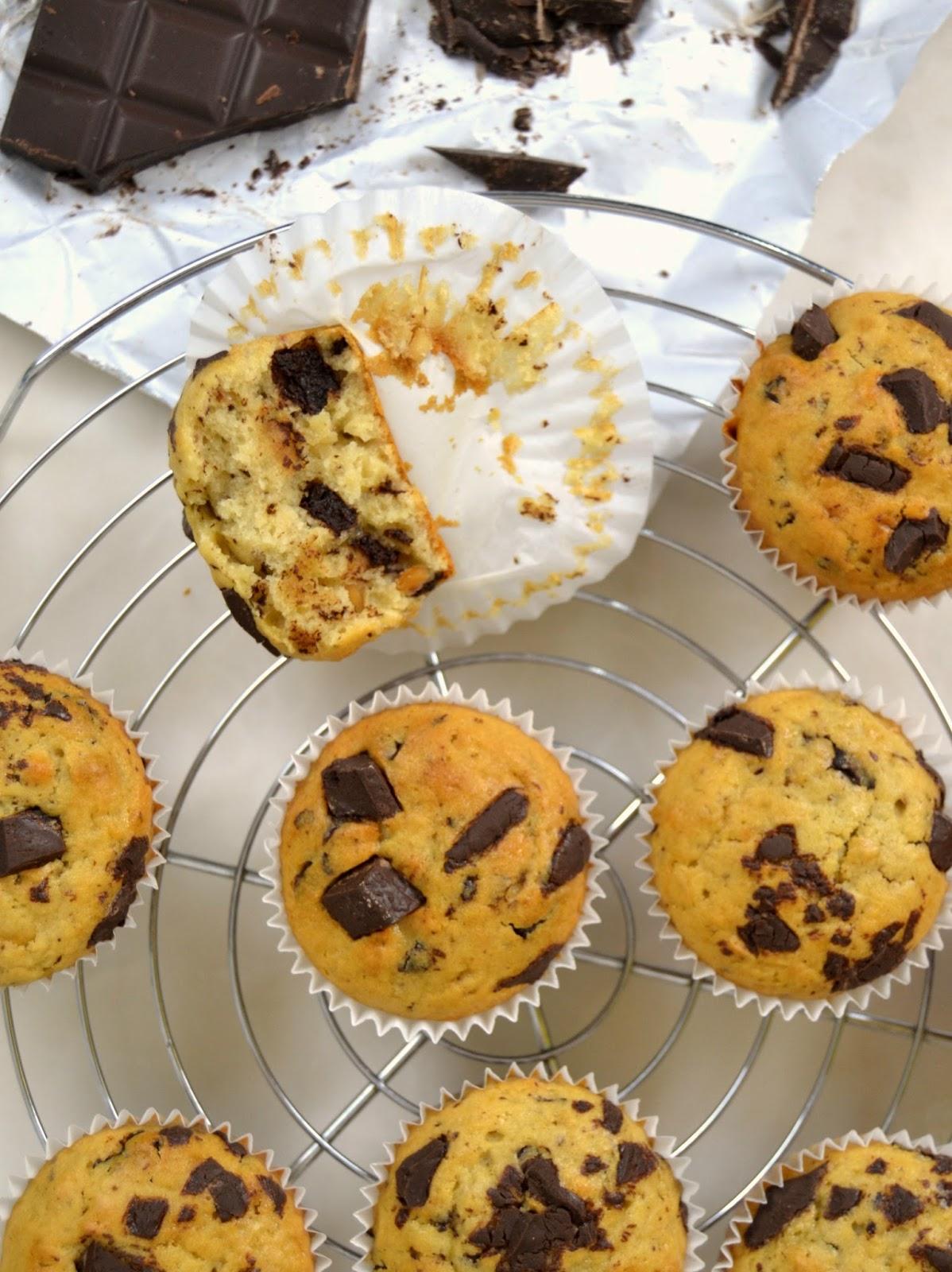 Muffins de crema de cacahuete y chocolate