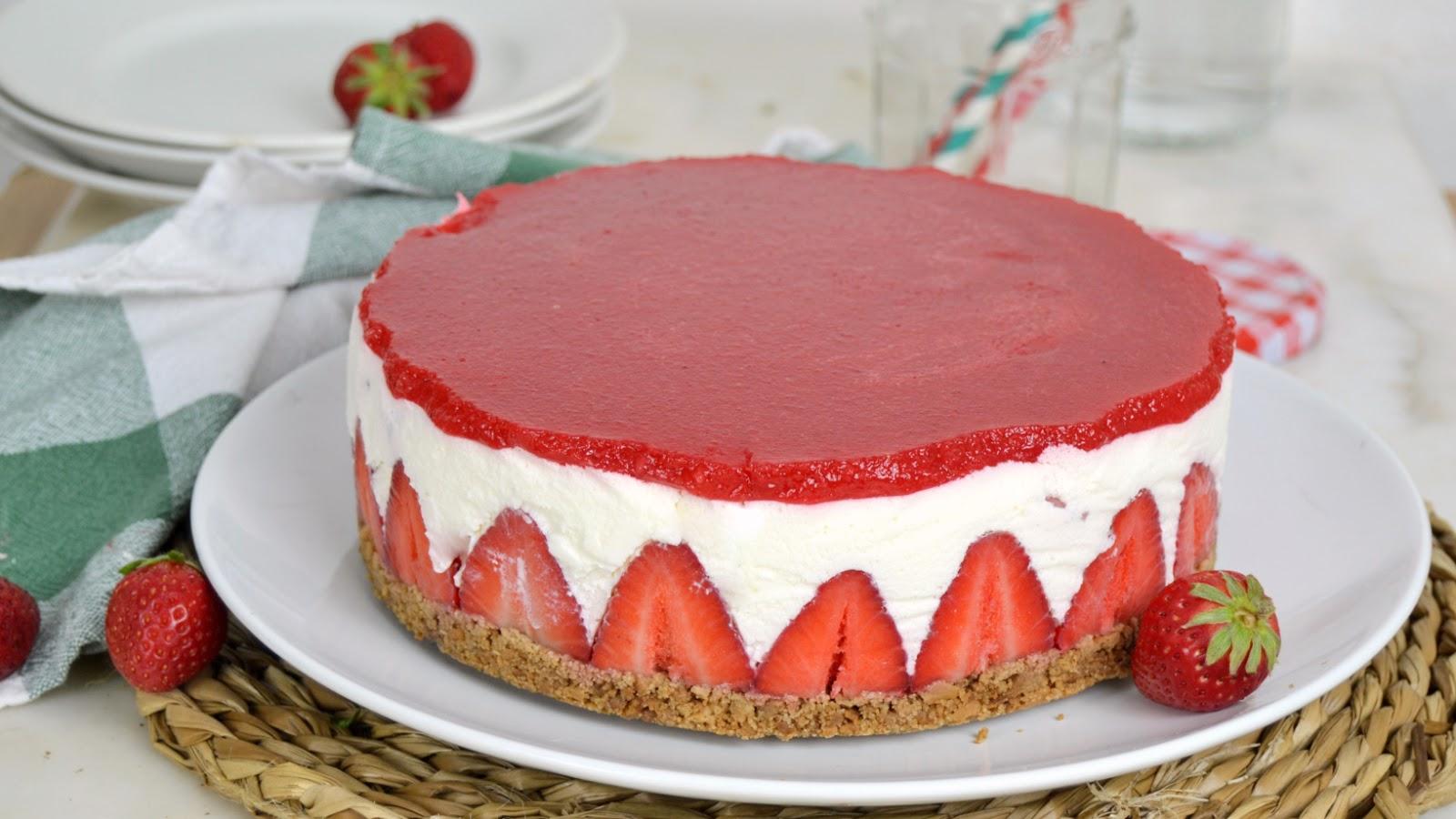 Tarta de queso y fresas estilo fraisier